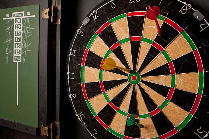best dart board cabinet set
