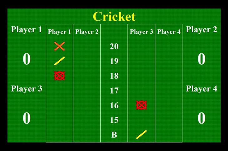 how to play cricket darts with 4 players
