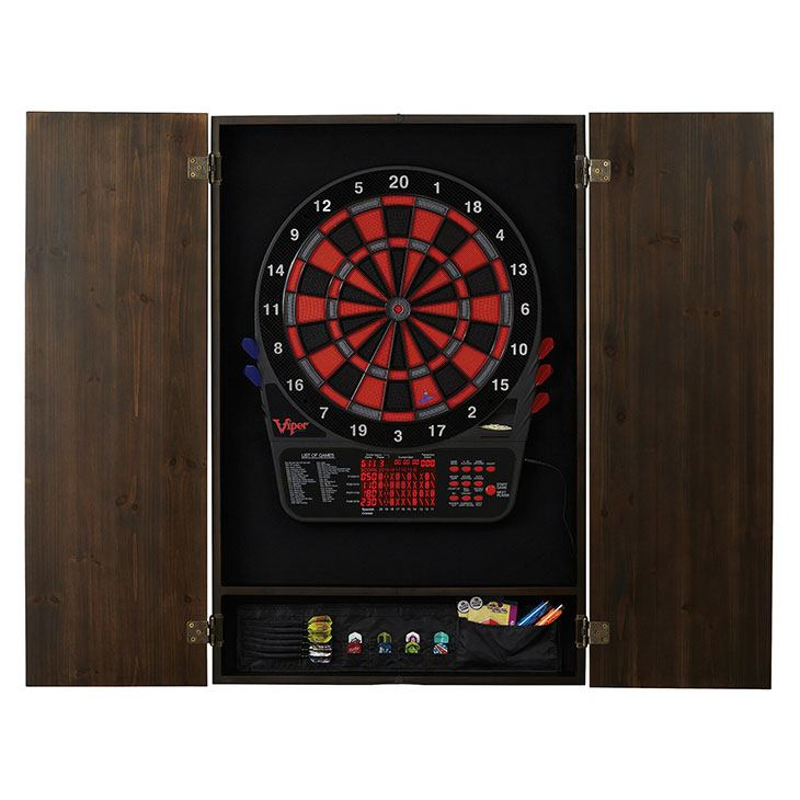 electronic soft tip dartboard with cabinet